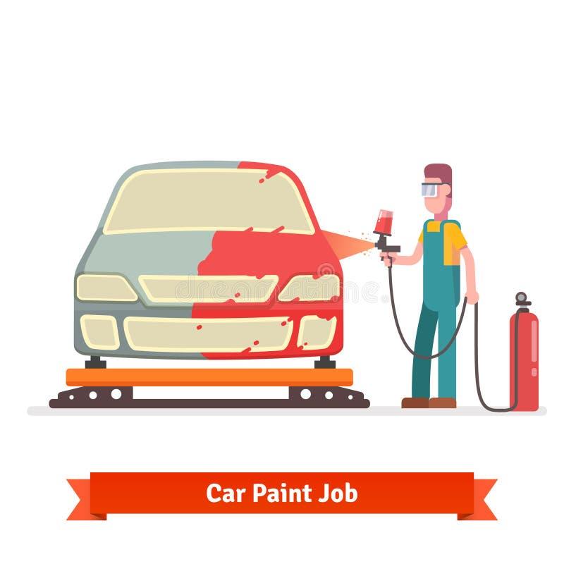 Corpo do automóvel da pintura de pulverizador do especialista ilustração do vetor