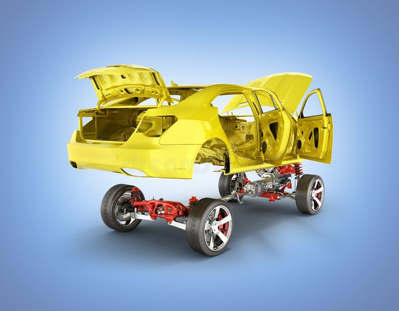 Corpo e sospensione dell'automobile con il telaio del motore e della ruota con bodycar isolato dettagliatamente sul fondo blu 3d  royalty illustrazione gratis