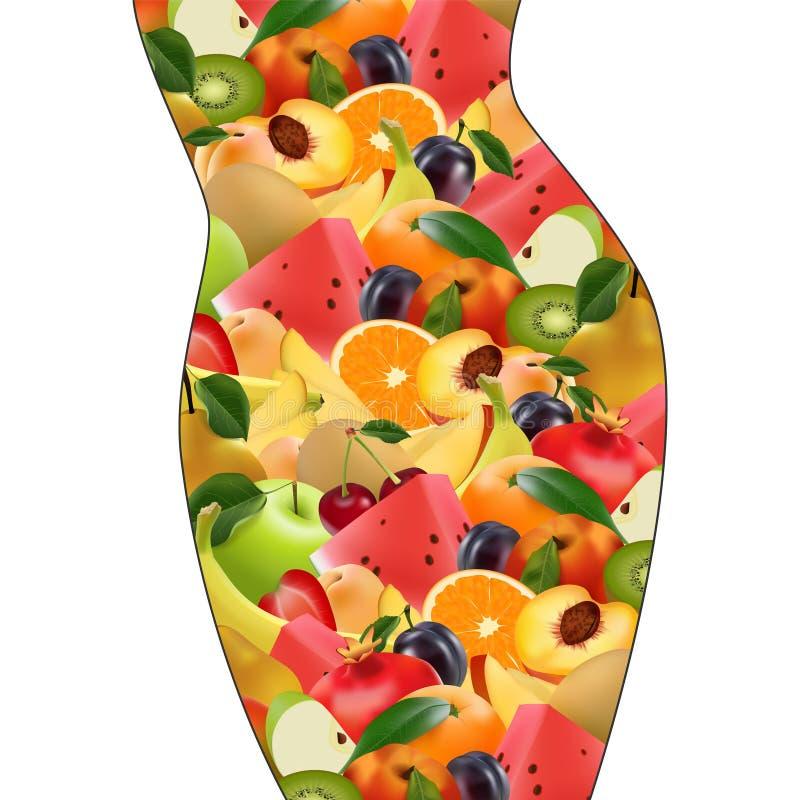 Corpo fêmea com frutos nutrição apropriada, dieta, perda de peso ilustração do vetor