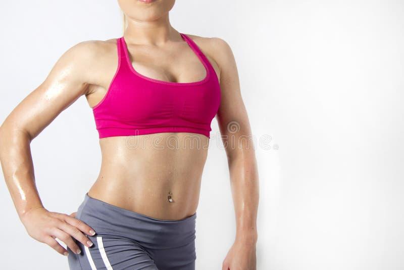 Corpo fêmea isolado da aptidão com músculos dos tons imagem de stock