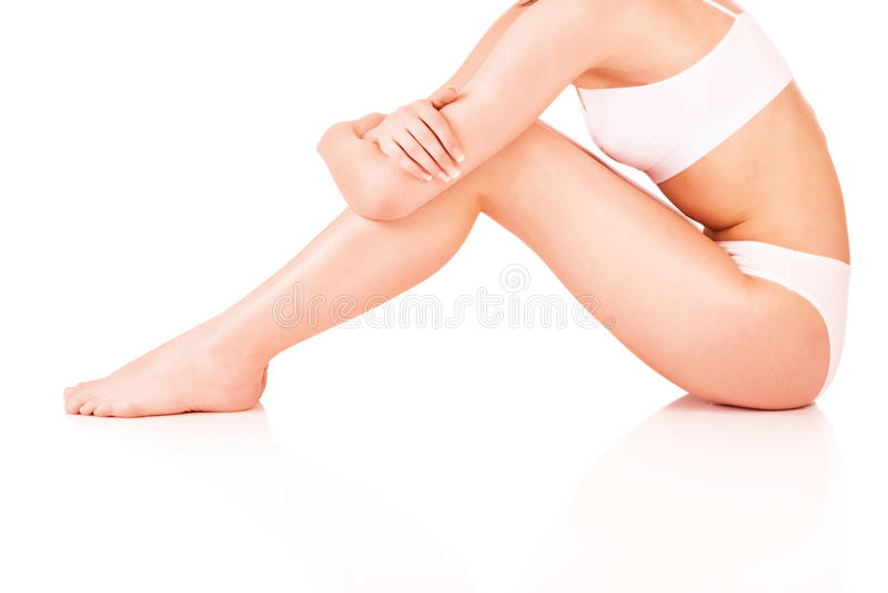 Corpo fêmea no roupa interior imagens de stock royalty free