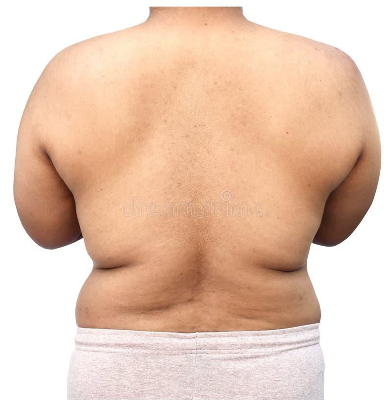 Corpo gordo do homem no fundo branco imagens de stock royalty free