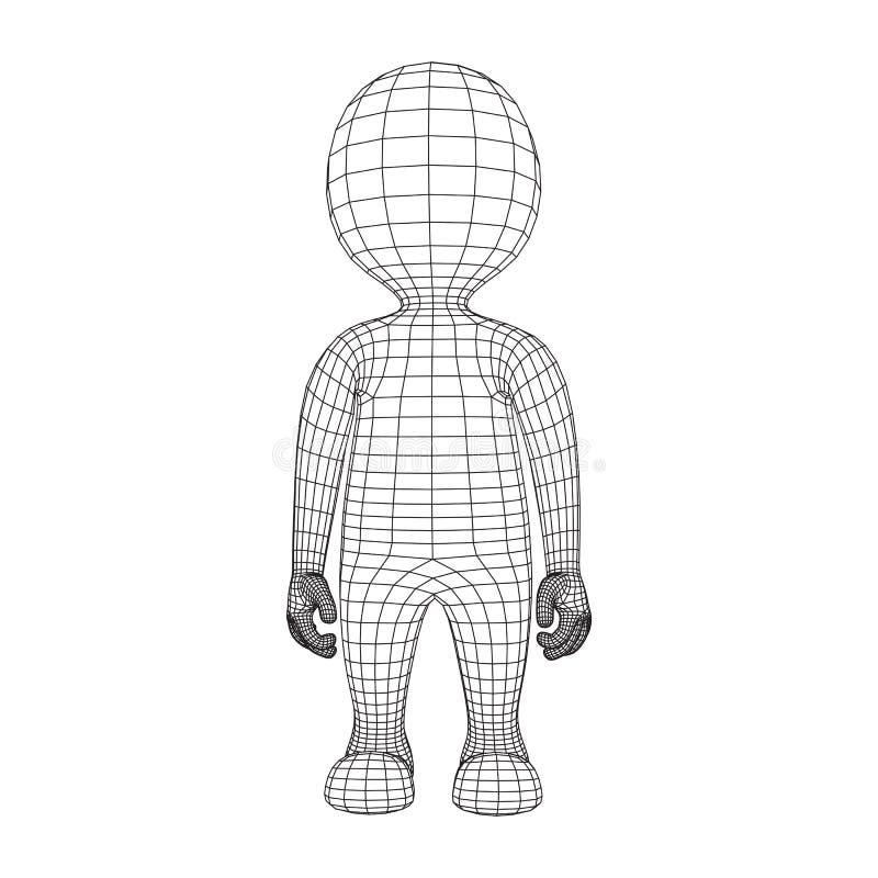Corpo Humano Dos Desenhos Animados Da Baixa Malha Poli De