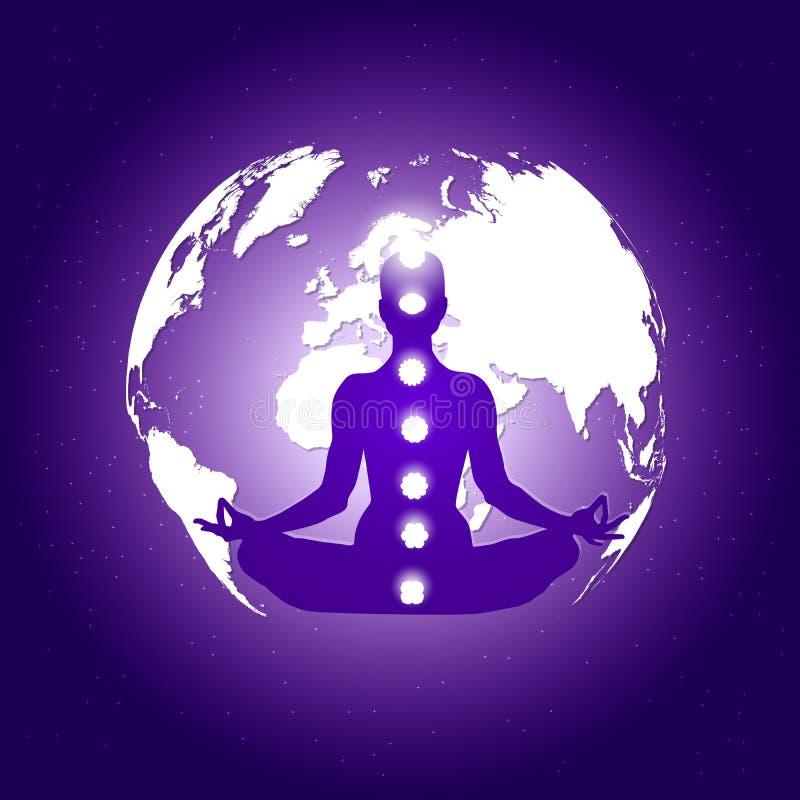 Corpo humano no asana dos lótus da ioga e sete símbolos dos chakras em escuro - espaço azul com terra do planeta e fundo das estr ilustração royalty free