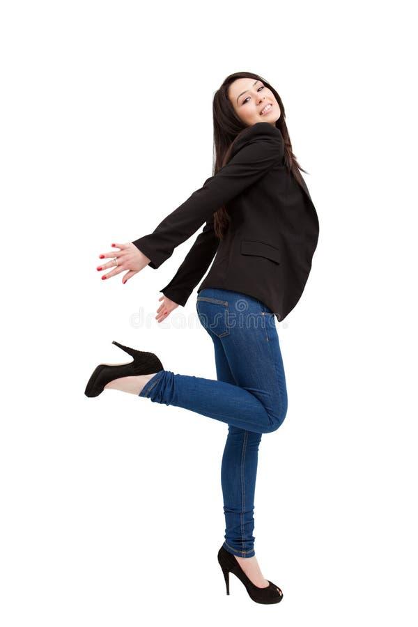 Corpo isolado cheio da mulher nova feliz foto de stock