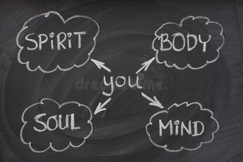 Corpo, mente, alma, espírito no quadro-negro fotos de stock