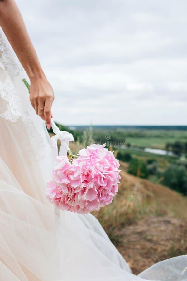 Corpo parts Mano di una ragazza, una sposa in un vestito da sposa Tiene un fiore di un'ortensia rosa immagini stock