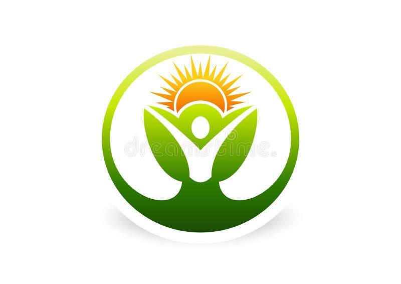 Corpo, planta, saúde, Botânica, natural, ecologia, logotipo, ícone, símbolo ilustração royalty free
