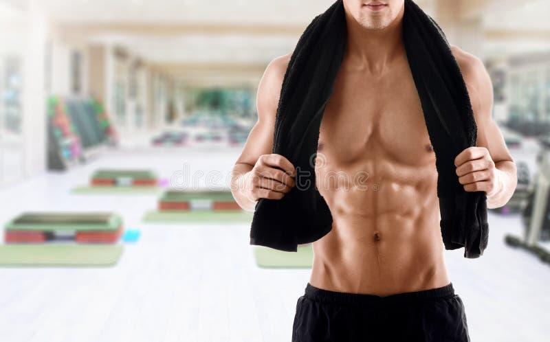 Corpo 'sexy' do homem muscular no gym fotografia de stock