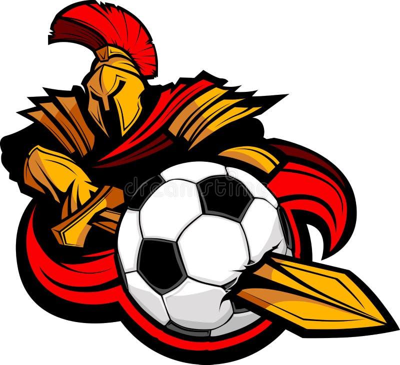 Corpo Trojan da mascote com a esfera de futebol Stabbing da espada ilustração do vetor