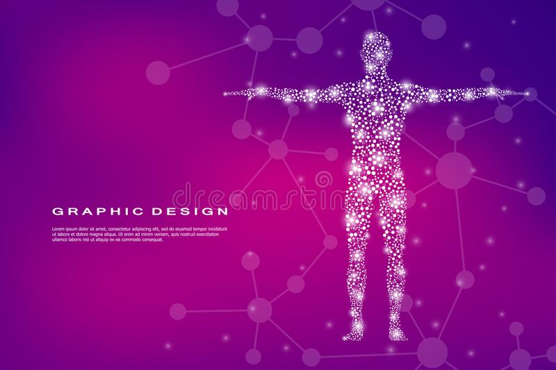 Corpo umano astratto con il DNA delle molecole Medicina, concetto di scienza e tecnologia Illustrazione di vettore