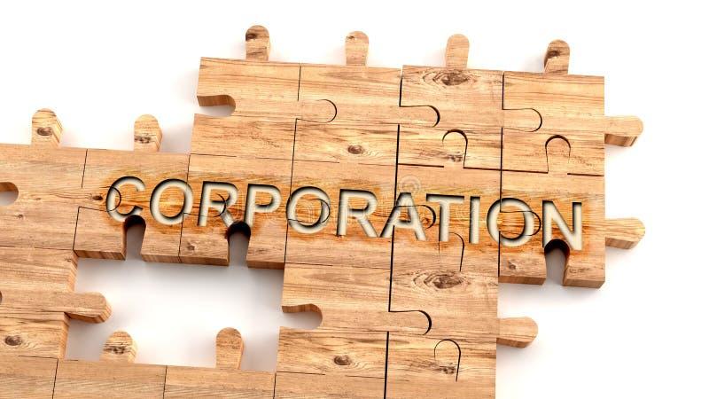 Corporación compleja y confusa: aprender el concepto complicado, duro y difícil de corporación, retratado como piezas de madera libre illustration