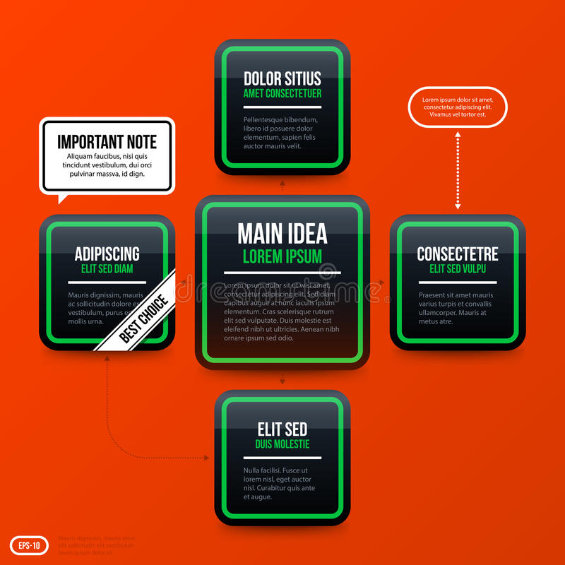Corporate banners and options template. Corporate business banners and options template on bright orange background. Useful for presentations and advertising royalty free illustration