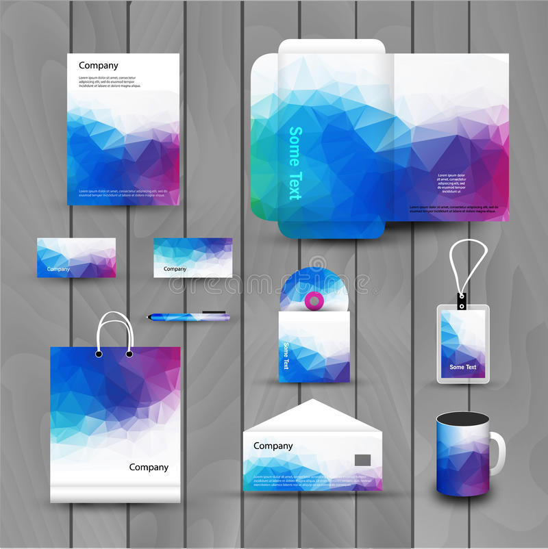 Corporate brand Business identity design Template Layout. Letter, Letterhead, Folder, card. Vector company triangle royalty free illustration