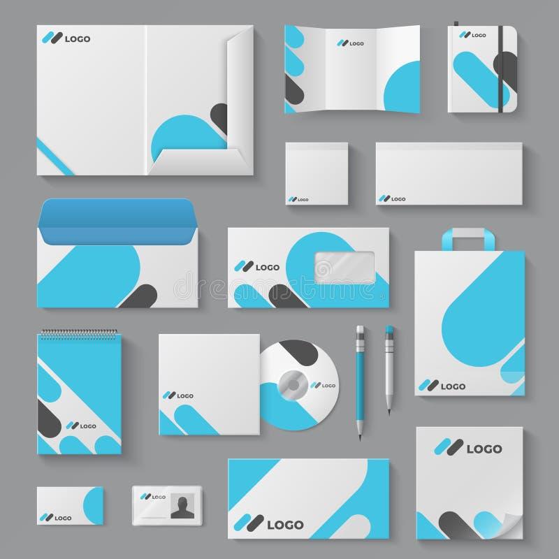 Corporate brand identity. Business stationery mockup branding envelope card mug document presentation. Corporation 3D. Vector logo template set vector illustration