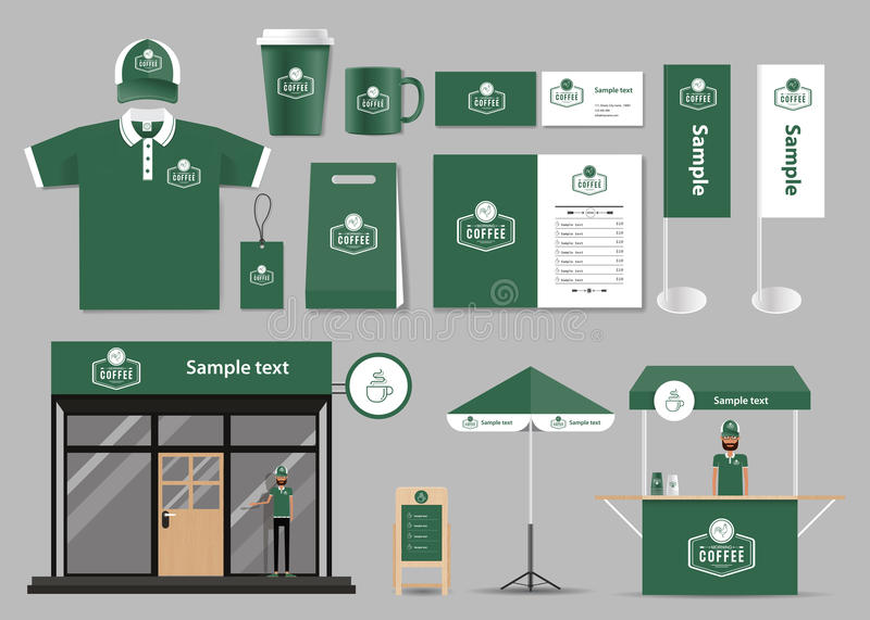 Corporate branding for coffee shop and restaurant identity mock up royalty free illustration