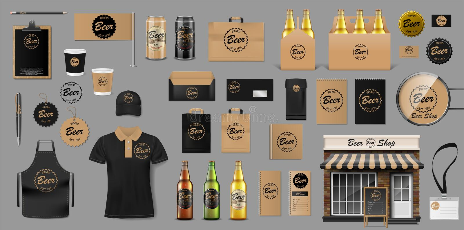 Corporate Branding identity template design for beer shop. Brewery elements for your Beer Pub or Bar. Realistic mockup. For your brand. Vector illustration EPS vector illustration