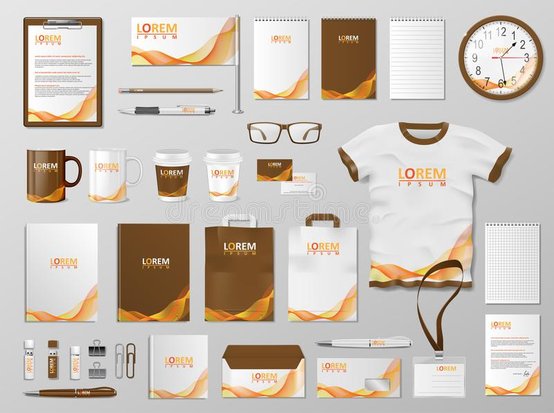 Corporate Branding identity template design. Modern Stationery mockup for shop with modern orange color. Business style. Stationery and documentation. Vector vector illustration