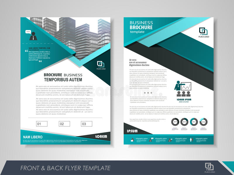 Corporate brochure. Front and back page annual report brochure flyer design vector template. Leaflet cover presentation abstract background for business stock illustration