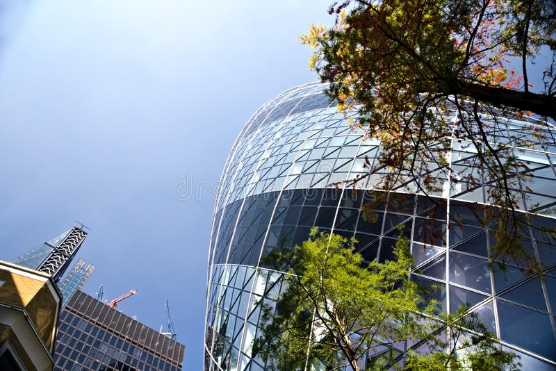 Corporate buildings in City of London stock image