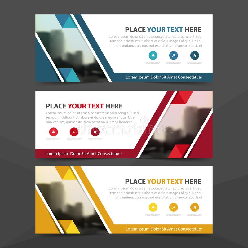Corporate business banner template, horizontal advertising business banner layout template flat design set , clean abstract cover. Header background for website stock illustration