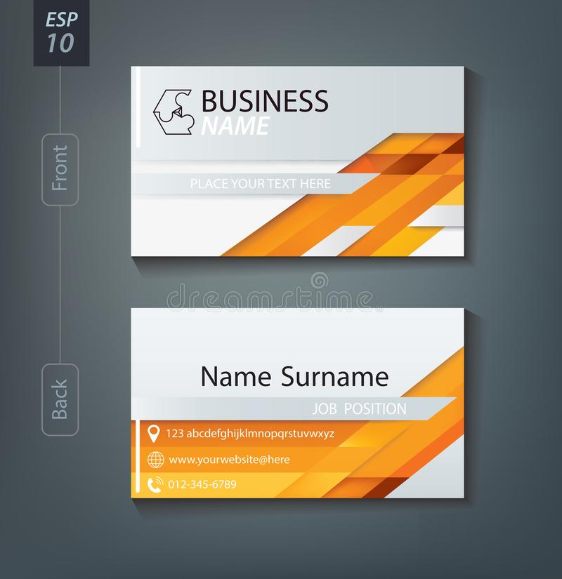 Corporate business card. Personal name card design template. royalty free illustration