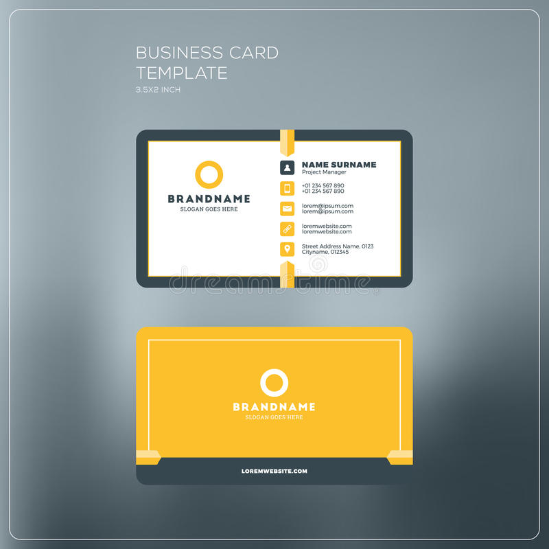 Corporate Business Card Print Template. Personal Visiting Card w royalty free illustration