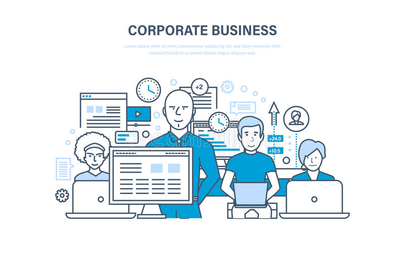 Corporate business concept. Business team, cooperation, collaboration, partnerships, teamwork. stock illustration