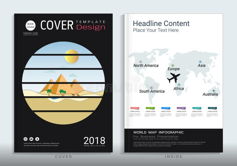 Corporate business cover book design template with infographic. vector illustration