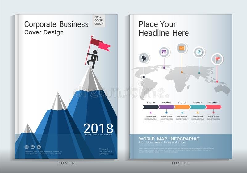 Corporate business cover book design template with infographic. royalty free illustration