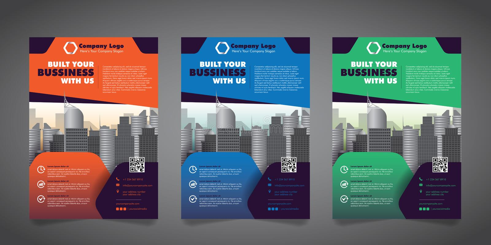 Corporate Business Flyer Design Template with 3 Various Options. Vector Illustration. vector illustration