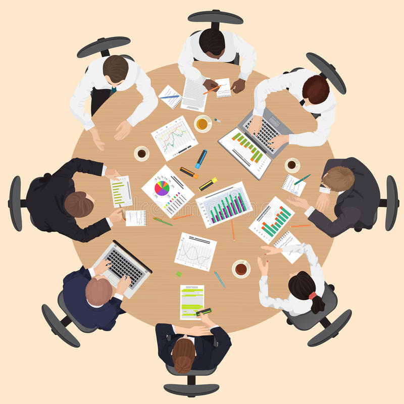 Corporate Business management teamwork meeting and brainstorming concept. Round table in top point of view vector illustration