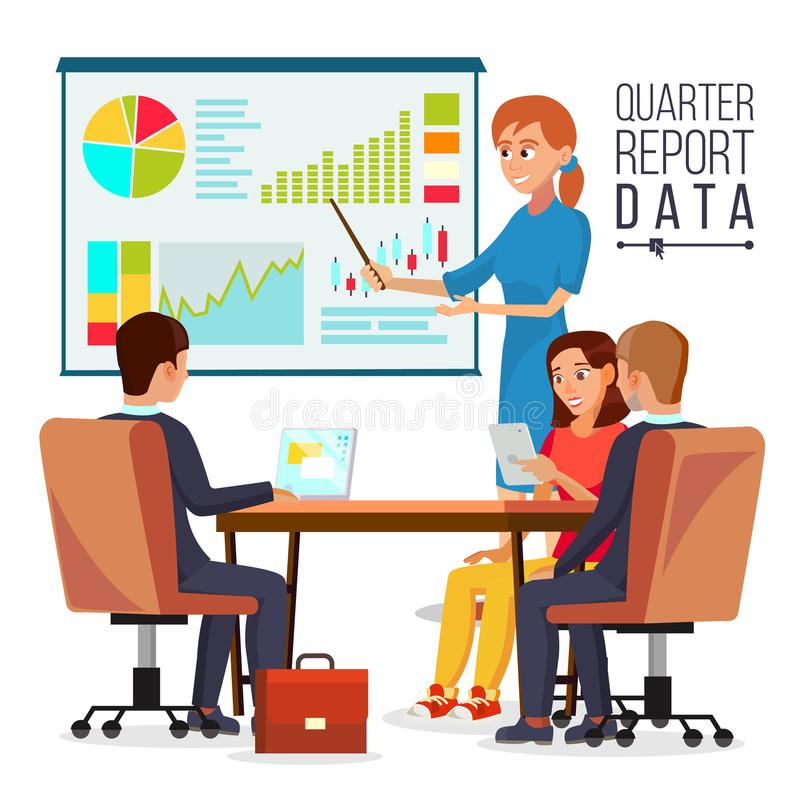 Corporate Business Meeting Vector. Woman Manager Explaining Quarter Report Data. Teamwork. Chatting In Conference Room.  vector illustration