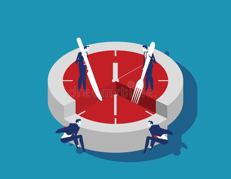 Corporate business people and time slice. Concept business vector illustration. Flat character style vector illustration