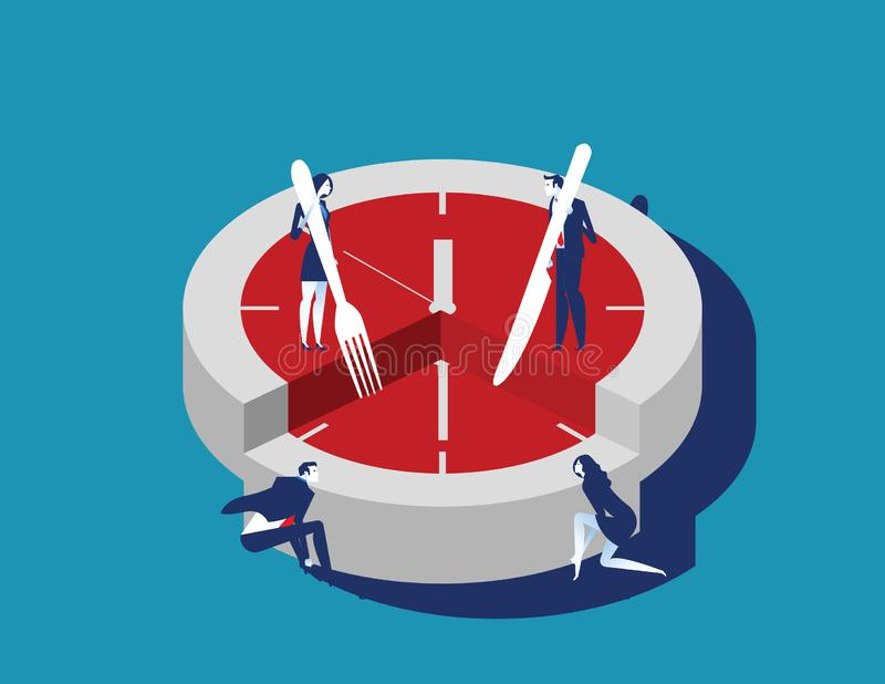 Corporate business people and time slice. Concept business vector illustration. Flat character style royalty free illustration