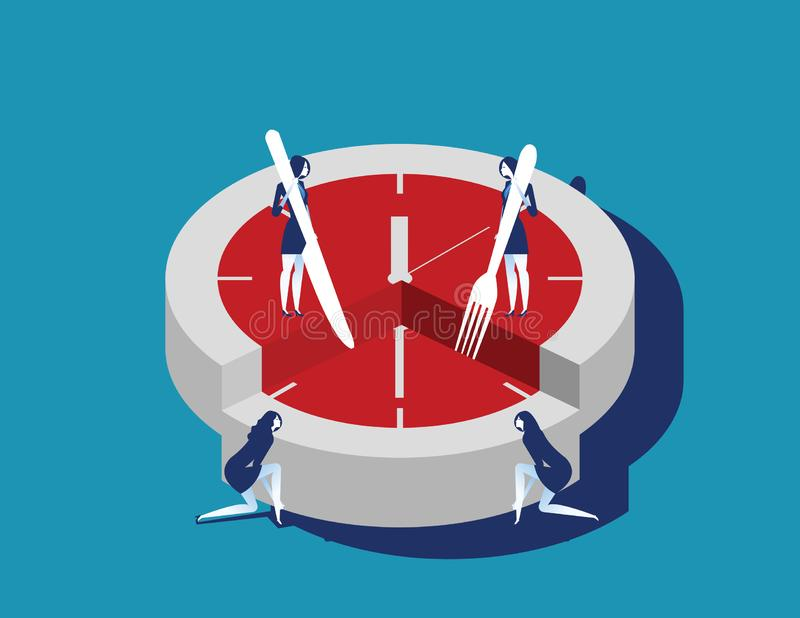 Corporate business people and time slice. Concept business vector illustration. Flat character style stock illustration