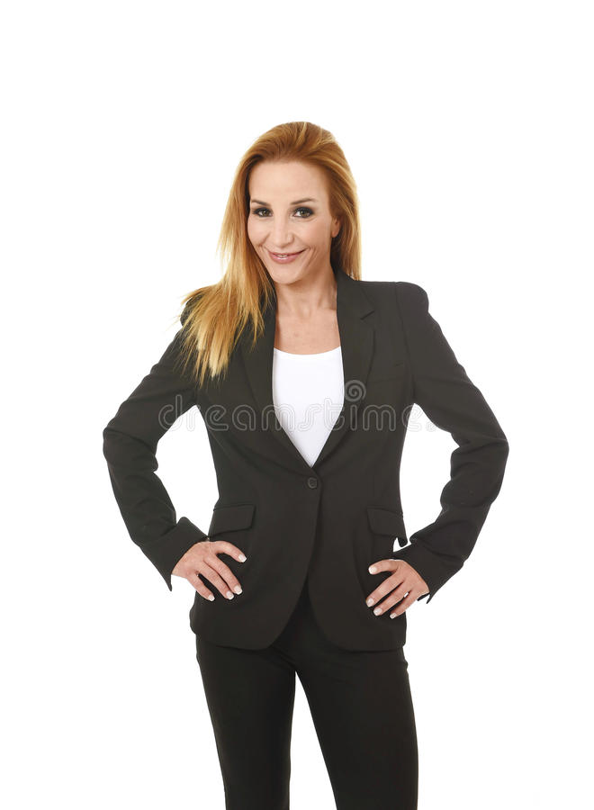 Corporate business portrait attractive blond hair businesswoman smiling happy and confident success concept. Corporate business portrait attractive blond hair royalty free stock photo