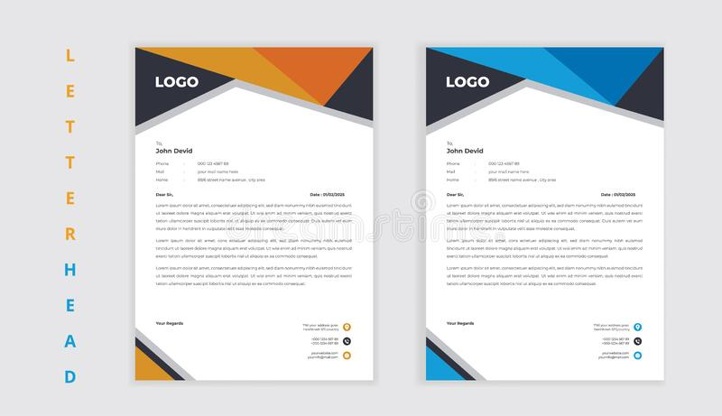 Corporate business style elegant shape letterhead design stock image