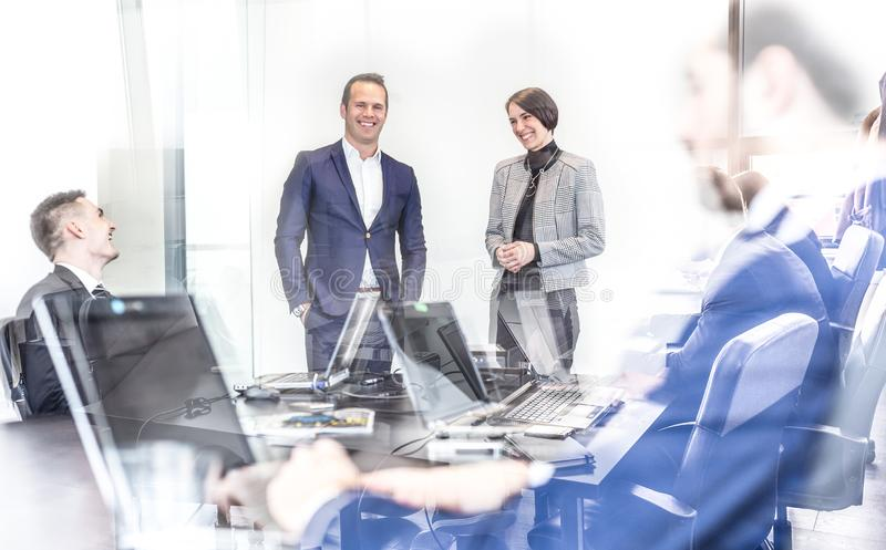 Corporate business team having informal office meeting. stock images