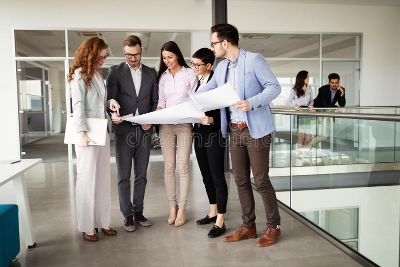 Corporate business team and manager in a meeting stock image