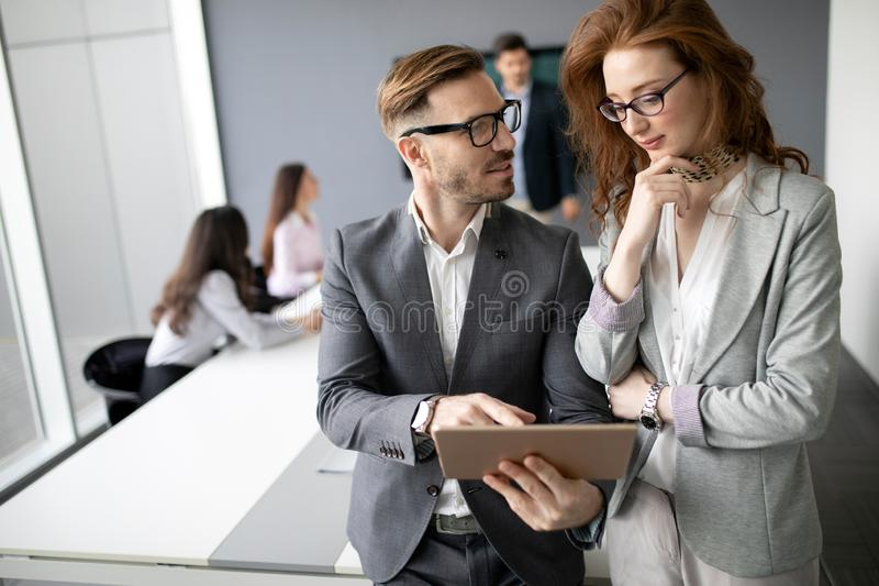 Corporate business team and manager in a meeting royalty free stock photo