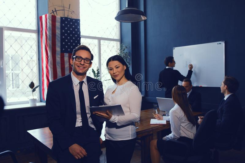 Corporate business team in meeting stock images