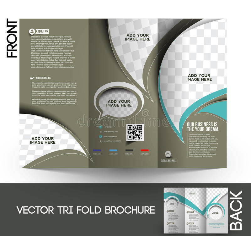 Corporate Business Tri-Fold Brochure. Corporate Business Tri-Fold Mock up & Brochure Design stock illustration