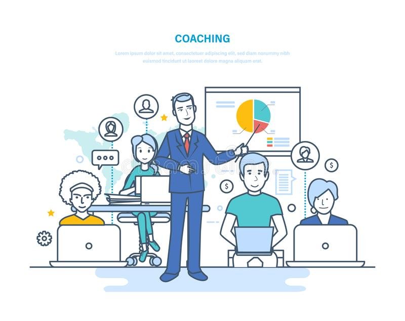 Corporate coaching, training, teaching business people, business learning, online education. vector illustration