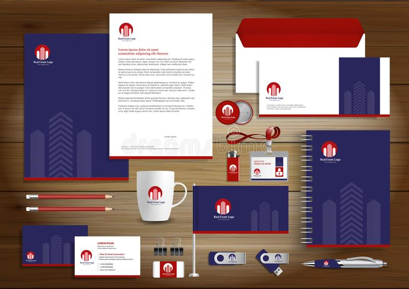 Corporate identity branding template. Real Estate vector stationery design with building logo icon on dark Blue red background. Bu stock illustration