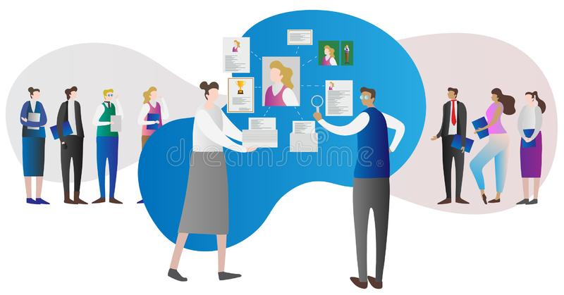 Corporate company human resource research work concept with employer and employees stock illustration