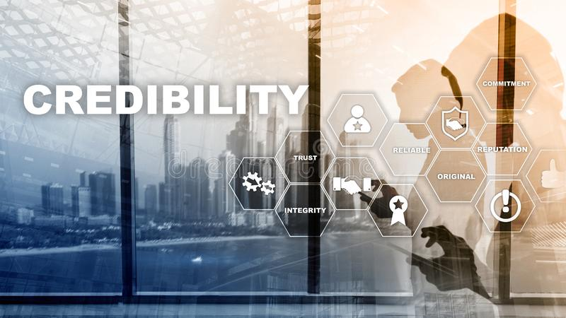 Corporate credibility improvement concept. Multiple exposure, mixed media background stock photography