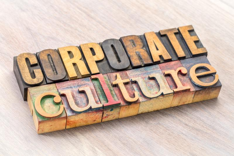 Corporate culture word abstract in wood type stock image