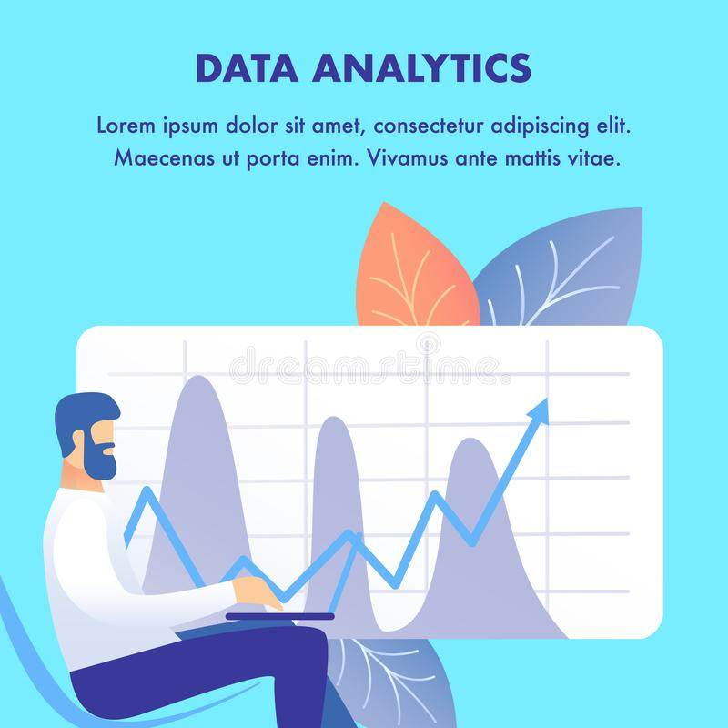 Corporate Data Analytics Flat Web Banner Template. Stockbroker with Laptop Cartoon Character. Stock Market Examination. Chart with Income Increase Forecast vector illustration