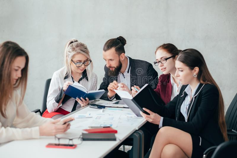 Corporate employees discussion ignore colleague stock image
